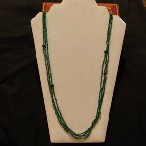 Multi Strand Green Glass Seed Bead Necklace